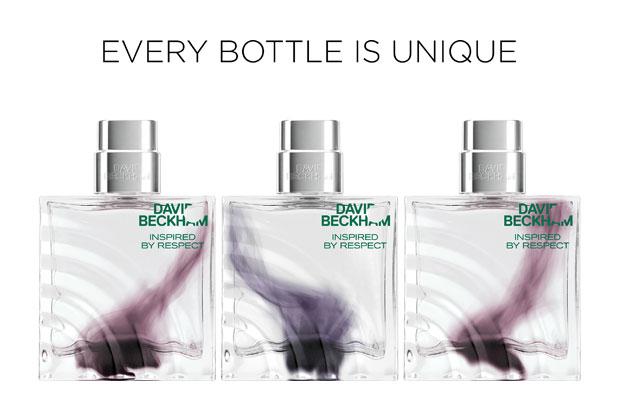 """<p>La nueva fragancia Inspired By Respect de David Beckham está disponible en un frasco de vidrio que es único para cada consumidor: el """"humo"""" púrpura dentro del vidrio es exclusivo y no se reproduce de la misma manera dos veces. <br />Los<strong> frascos</strong> han sido creados por <strong>Verescence</strong> gracias a su tecnología <strong>Mineral Glass</strong>"""