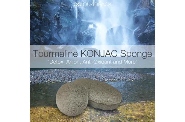 <p>La nueva esponja <strong>Tourmaline Konjac de Quadpack</strong> explota el poder de los iones negativos con polvo de turmalina de alta gama procedente de Brasil. El agua caliente y la fricción maximizan sus efectos beneficiosos