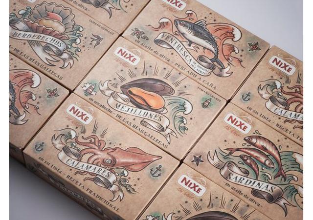 <p>Packaging para la línea de <strong>conservas de Nixe</strong>